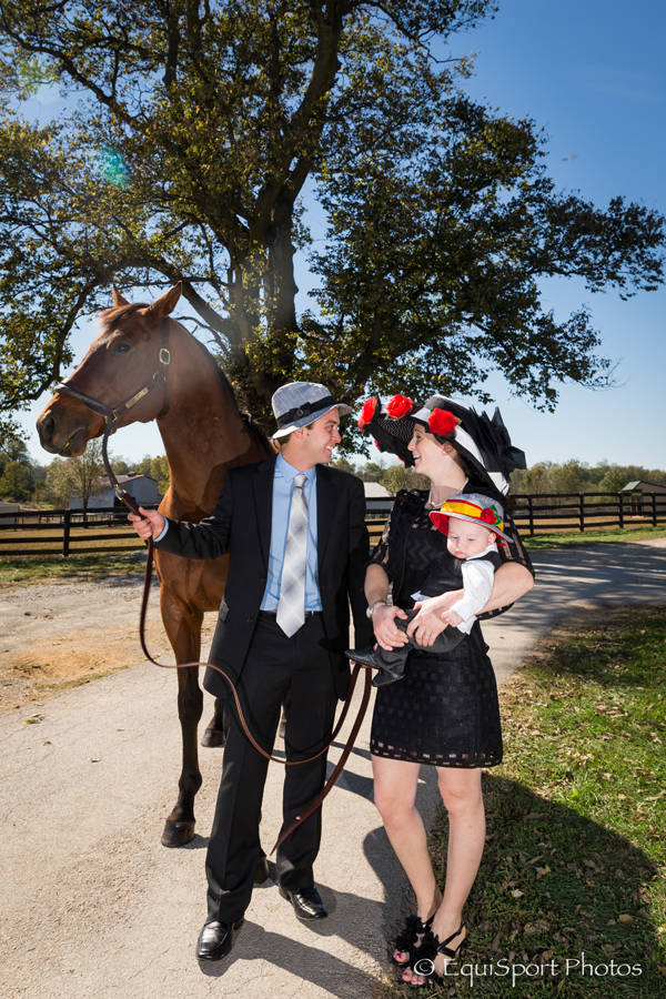 "The ""Amazombie"" Hat modeled by Rosie Napravnik with her husband, trainer Joe Sharp and their little boy, Carson - Matt/Wendy Wooley, EquisportPhotos.com"