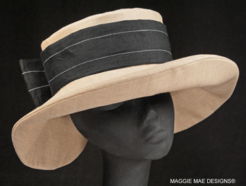 Annabelle natural linen hat with black pinstripe bow