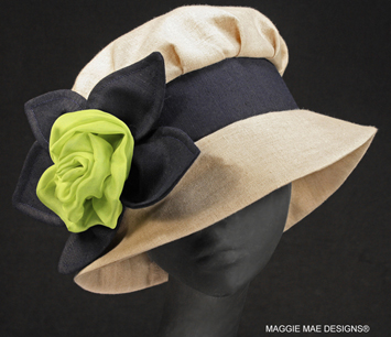 Barbara natural linen summer hat with lime chiffon rose