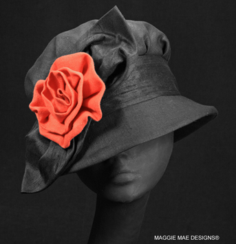 Barbara black linen summer cloche hat with coral rose