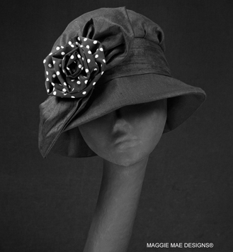 Barbara black linen cloche with polka dot rose