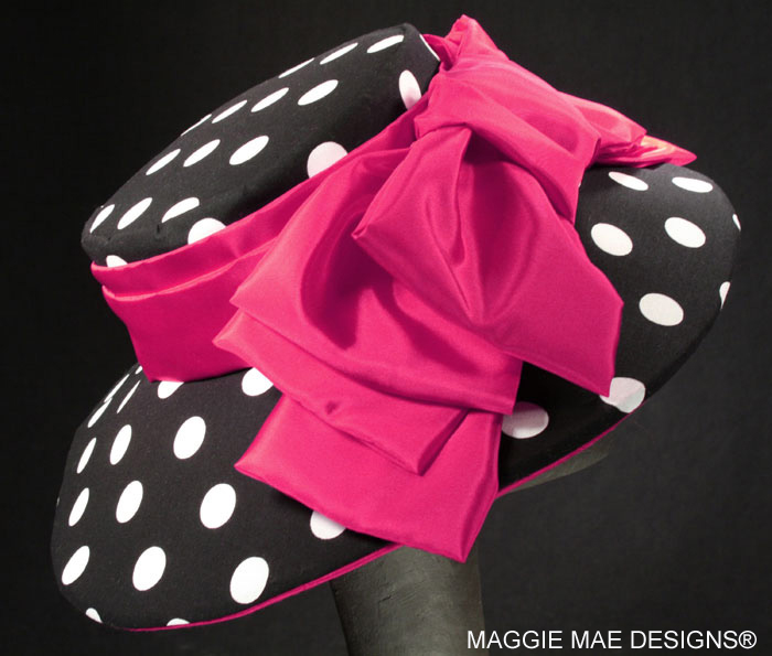 hot pink and fuchsia polka dot Derby hats