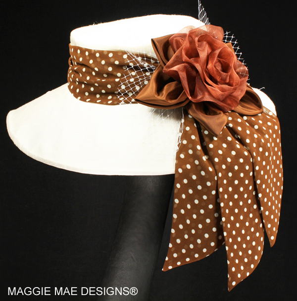 Silk hats with polka dots for horse racing, tea, garden party