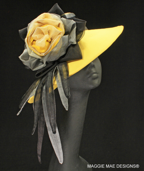 Chelsea yellow linen hat for the Derby
