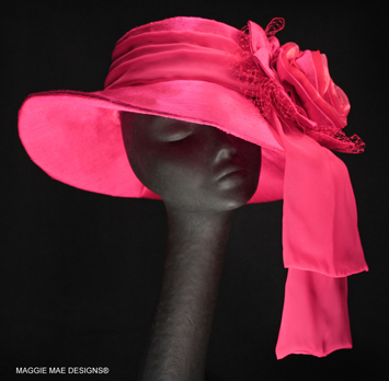 fuchsia silk Derby hat