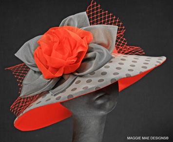 Gray polka dot and red Derby hat