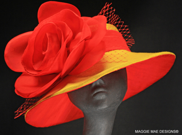 yellow and red Derby hats