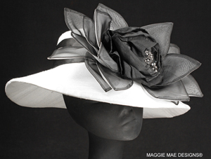 black and white silk Derby hat