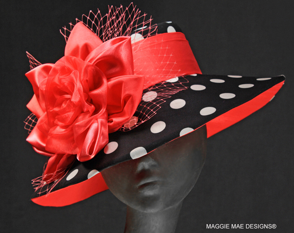 Chelsea Der60-049 black and white polka dot hat with coral rose