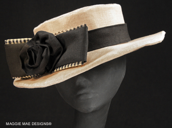 Diana natural linen women's summer hat with black gingham bow