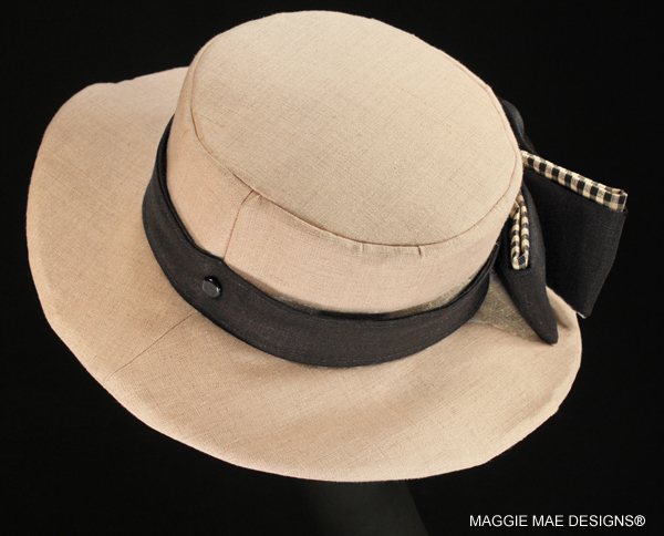 Diana SMM5-036 natural linen hat with black and gingham bow