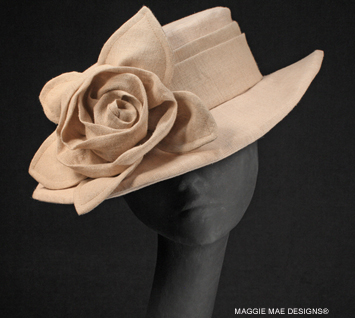 Diana natural linen summer hat with natural rose and leaves
