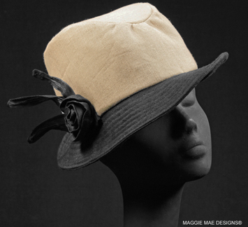 Natural linen Dylan fedora with black linen brim and rose curl