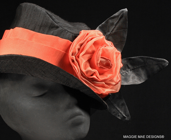 Dylan Der300-010 black Derby fedora with coral rose