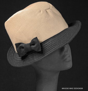 Natural linen Dylan fedora with black linen brim and bow