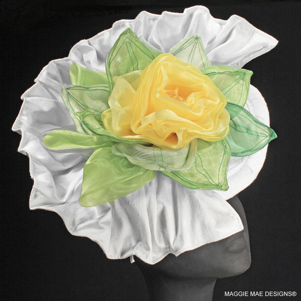 Fiona white silk hatinator with yellow rose and green leaves