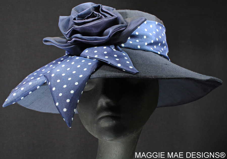 Navy Silk Derby hats
