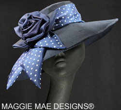 Navy Polka Dot Silk Derby hats