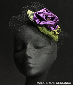 Purple silk and organza hair ornament