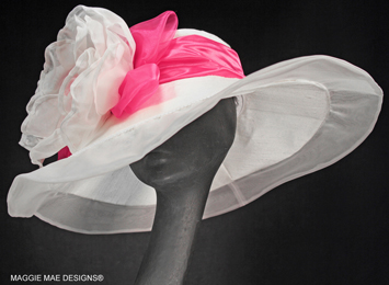 Jamie Derby hat with white and pink peony