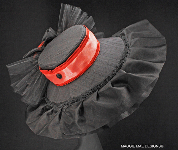 The Jen's Hanalee Chapeau - Black and Coral Derby Hat