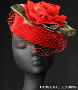 red cocktail hat for special occasion