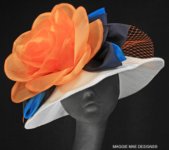 white silk Derby hat with orange tangerine trims