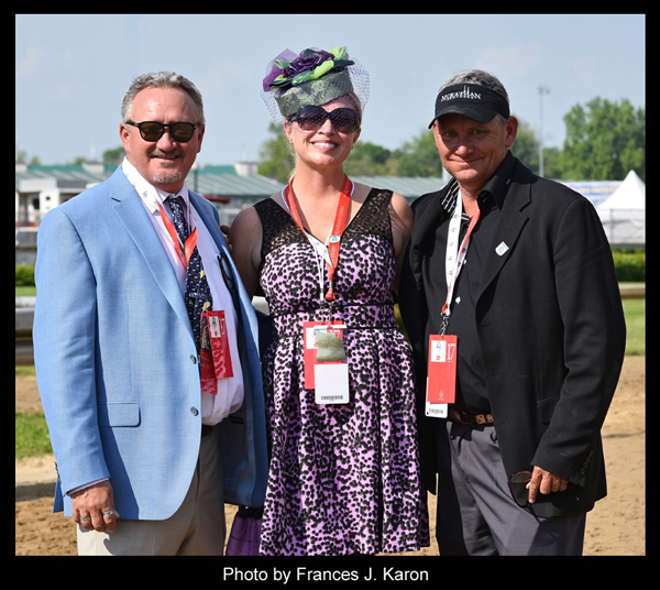 Leigh McKathan wearing her Trisha's Zophie to the 2015 KY Derby with American Pharoah
