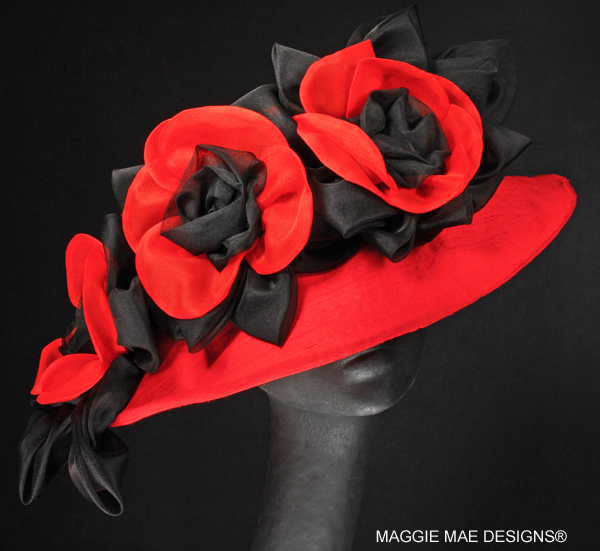 Lesley Der192-001 red silk Derby hat