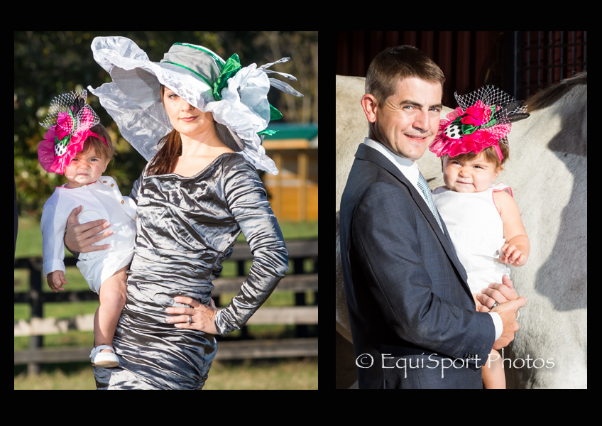 The Emily fascinator from the Little Silver Charm Kids' Hat Collection - modeled by Joshlyn Hernandzez with her parents, Jamie and Brian