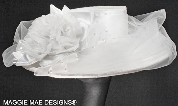 Liza BR13-022 white dupioni silk wedding hat