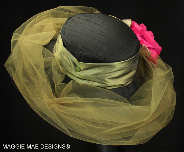 Liza Der13 114 Black Silk Derby Hat With Hot Pink Rose At