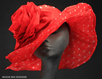 Wide brim red polka dot organza Derby hat