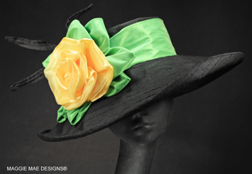 Wide brim black silk Derby hats