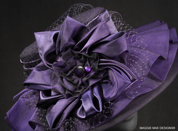 Purple silk dupioni hat