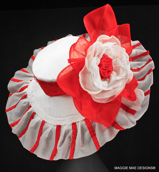 The Louisa's Cherie Red and White Silk Wide Brim Chapeau