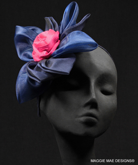 "The ""Margeaux"" hair ornament in navy and fuchsia with headband"