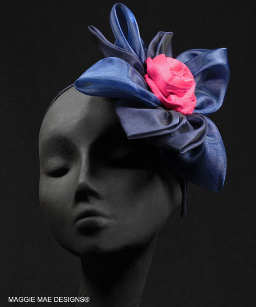 Margeaux Marguerite navy and fuchsia hair ornament