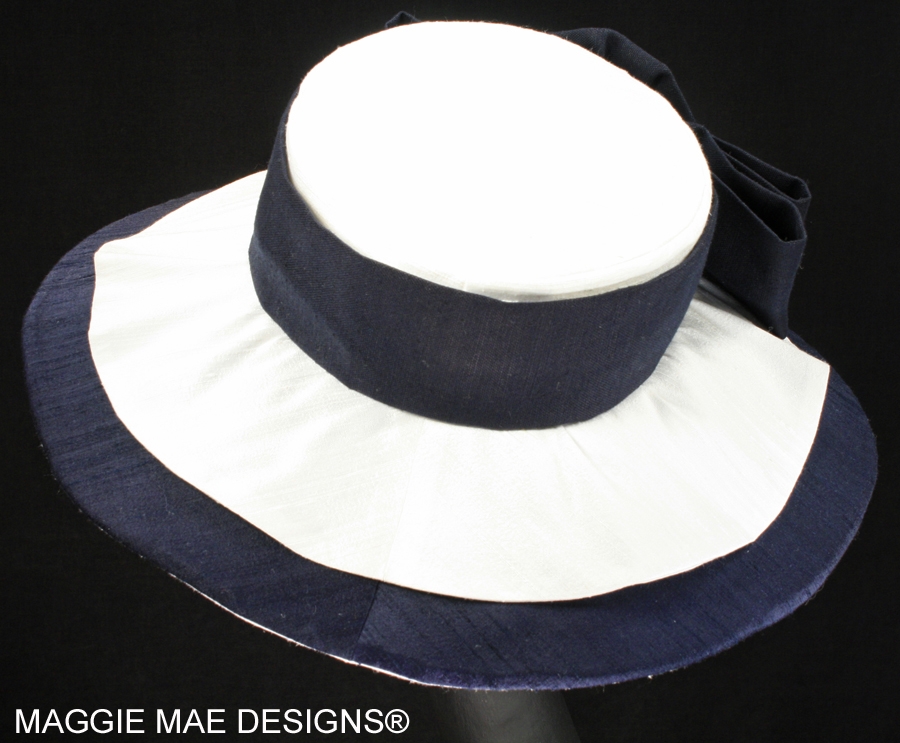 Megan SMM209-001 navy and white silk hat