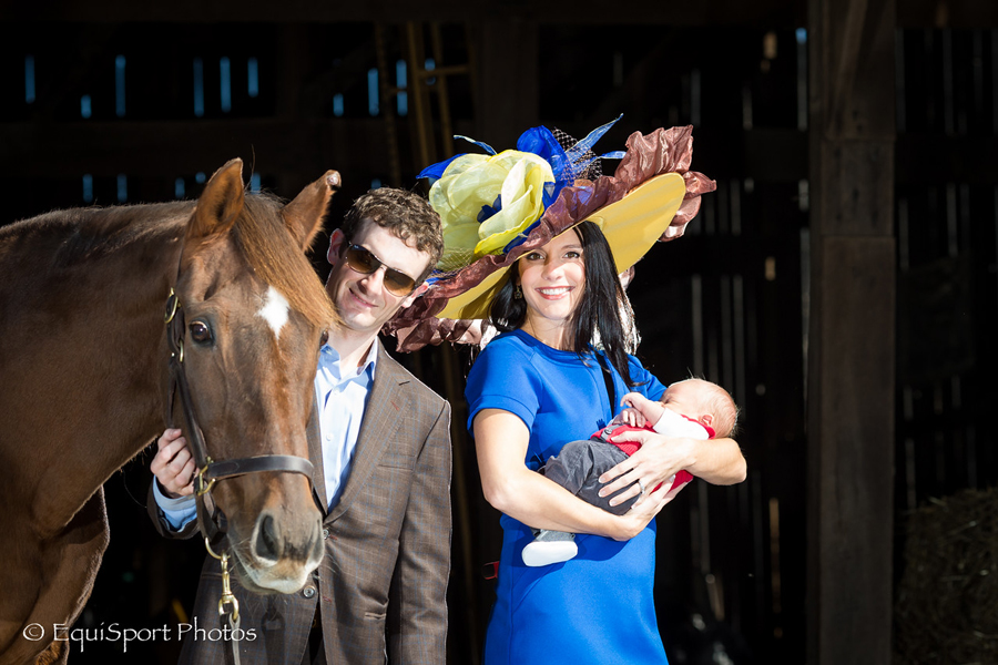 """Mixed Pleasure"" Hat modeled by Shea Leparoux with Julien and Mitchell Leparoux - Matt/Wendy Wooley, EquisportPhotos.com"