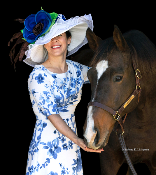 "The ""Nicanor"" Hat modeled by artist Dagmar Galleithner-Steiner and her husband retired jockey Joe Steiner - Photo by Barbara D. Livingston"