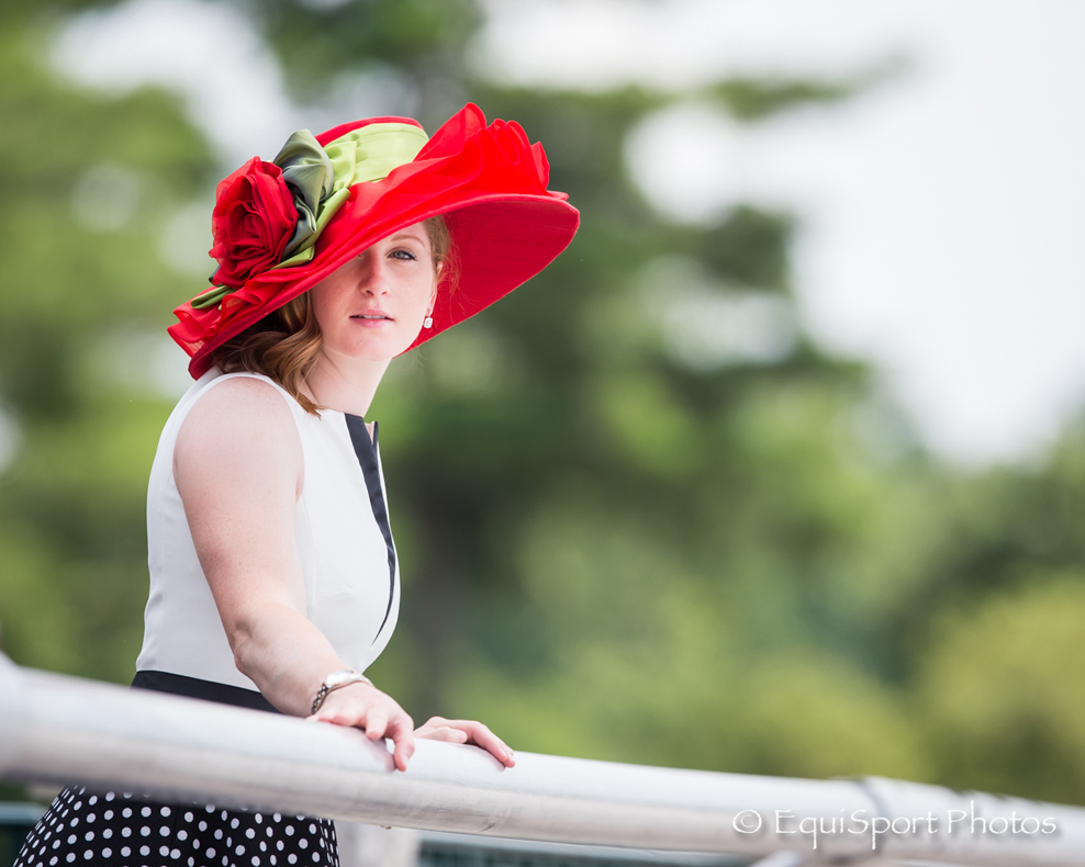 Rosie Napravnik modeling the Hallie hat from the Rosie Hat Collection by MAGGIE MAE DESIGNS® - EquiSport Photos