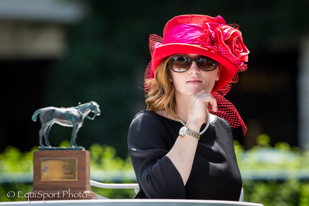 Rosie Napravnik modeling the Teddy top hat design from the Rosie Signature Hat Collection by MAGGIE MAE DESIGNS® - EquiSport Photos
