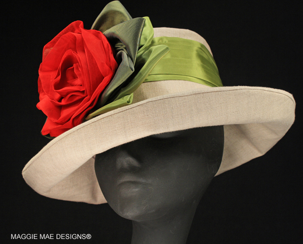 Sallita Der6-049 linen hat with red rose