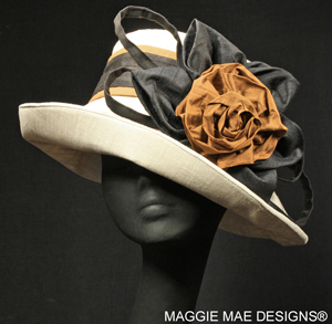 Natural linen Sallita hat with mocha rose and black silk leaves