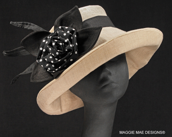 Sallita natural linen hat with black polka dot rose