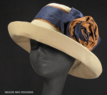 Anne's Sallita - natural linen hat with navy and mocha silk ose