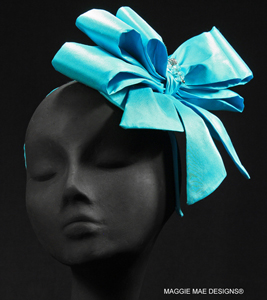 "The ""Tiffany"" triple bow silk hair ornament with headband attachment"
