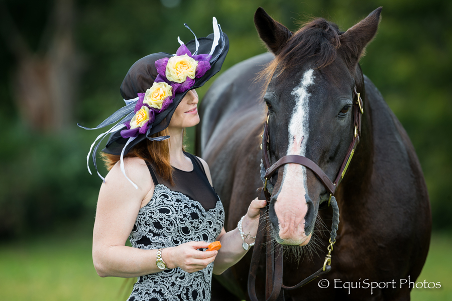 "The ""Williamstown"" Hat modeled by Rosie Napravnik with Joe Sharp - Matt/Wendy Wooley, EquisportPhotos.com"