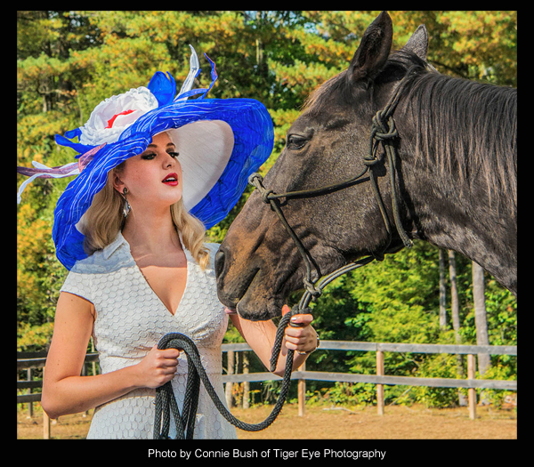 "The ""Zippy Chippy"" Hat modeled by Acacia Courtney, photo by Connie Bush of Tiger Eye Photography"